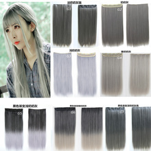 "Gray Gradient&Solid  Color 5Clips Synthetic Clip in Hair Extensions Straight 24"" 60cm 120grams Heat Resistant Fiber Hairpiece"