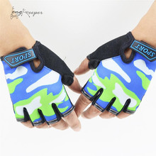 LongKeeper Half Finger Sports Gloves for Kids Non-Slip 4-12Y Children Cycling Gloves For Boys Girls Biking Bicycling Luvas