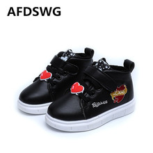 AFDSWG spring and autumn white short leather waterproof soft casual kids sport shoes pink childrens shoes female sneakers(China)