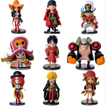 Anime 9pcs/set One Piece modle figure Luffy Roronoa Chopper cartoon Nendoroid toys gifts collection cute decoration Y7203(China)