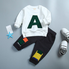 2017 New Childrens Boys Autumn Child Cotton Letter Patter 2 Pieces Suit Long Sleeves Pullover Kids Sets For 5-10 T