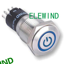 16mm 12V LED Stainless Steel Latching ON/OFF Power Push Button Switch(PM162F-11ZET/B/12V/S/IP67)