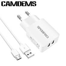 CAMDEMS Micro USB Cable Fast charger For Samsung S6 S7 J7 A3 For Xiaomi For Lenovo LG G4 +High Quality EU AC Travel Wall charger(China)