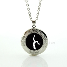 Exquisite Popular High Quality vintage pole dancing art picture pendant locket necklace sexy woman dancer image necklace DC025(China)