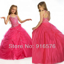 Flower Girl Dresses Ball Gowns Girls Pageant Dress Beaded Gowns Floor Length Crystal Tulle Halter Overlay