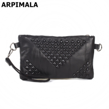 ARPIMALA Soft Sheepskin Clutch Bag Genuine Leather Handbags Luxury Designer Ladies Hand Bag Organizer Evening Bag Purses