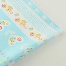 News Home Textile Blue Floral Design 100% Cotton Fabric Twill Decoration Bedding Tissue Quilting Patchwork Telas Baby Tissue