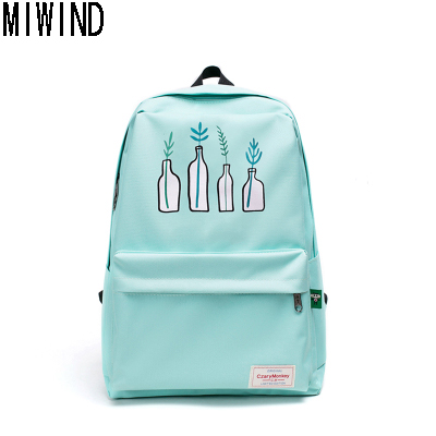 MIWIND Women Canvas College Student School Backpack Teenage Girls Casual Rucksacks Laptop Backpacks Women Mochila  T1151<br>