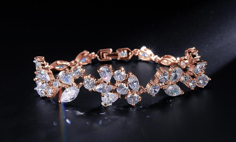 ZAKOL 3 Color Sliver Color Design Cubic Zirconia Flower Chain Bracelets Bangle For Women Fashion Leaf Wedding Jewelry FSBP014