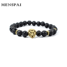 Men Beaded Energy Jewelry Wholesale 8mm Volcanic Stone Beads Gold-Color Plated Lion Head Bracelet
