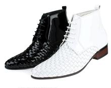 luxury patent leather mens white weave ankle boots pointed toe lace up chelsea wedding shoes men man business party dress boots