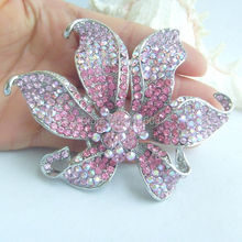 Gorgeous 3.74 Inch Silver-tone Pink Rhinestone Crystal Orchid Flower Brooch Pendant EE03903C12
