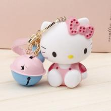 NEW DESIGN HELLO KITTY EXTREMELY CUTE KEYCHAIN WITH TINY BELLS KEYRING FOR BAG CHARMS CAR PENDANTS NOVELTY PRODUCT GREAT GIFT
