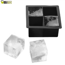Creative Styling Tools Party Bar Black Square Silicon Ice Mold for Whiskey Cocktail Frozen Silicone Ice Cubes Tray Ice Maker