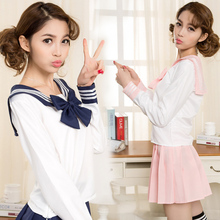 High quality sailor suit students school uniform for teens preppy style cos uniform JK fashion Japanese Seifuku bow skirt shirt(China)