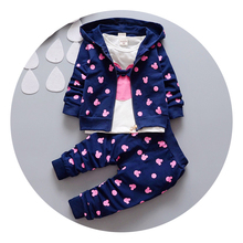 Children autumn winter baby girls boys Christmas clothing set kids thick warm clothes set infant plus velvet sport suit set