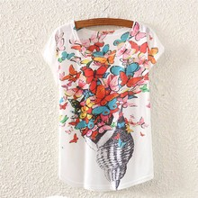 2017 Brand New Polyester T-Shirt Women Short Sleeve t-shirts o-neck Causal loose Conch butterfly t shirt Summer top for women
