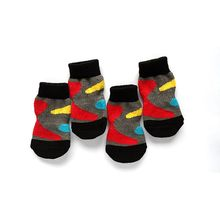 4 PCS/set Small Pet Dog Doggy Shoes Lovely Soft Warm Knitted Socks Clothes Apparels For S-XL()