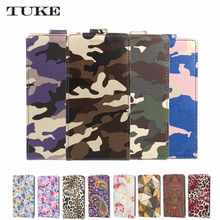 "TUKE Wallet Funda Case for Micromax Bolt Q346 4.5"" Fashion Camouflage PU Leather Cover Cellphone Bag  for Micromax Bolt Q 346"