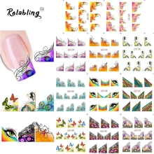 2017 Loved Ones Beautiful Flower Series Water Transfer Nail Art Sticker Decorate Fingernails Painting Paper For Nail Art(China)