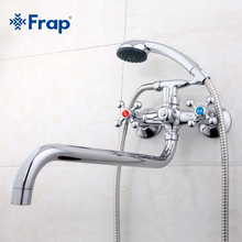 Frap Wall mounted shower set hand shower bathroom double handle dual hole shower faucet with 36cm nose F2619(China)