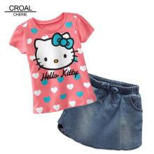 80-130cm 2pcs Hello Kitty Kids Children Toddler Girls Clothing Set Short Sleeve T-shirt And Denim Skirt Summer Pink Heart Sets