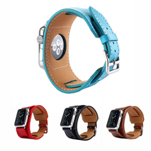 Cindiry 3 in 1 Genuine Leather Cuff Bracelet Wristwatch Band Strap Belt with Connector for 38/42mm Watch T20(China)