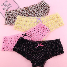 Buy jamular 8 Colors Women Rainbow Bowknot Boyshorts Sexy Dot Female Underwear Women Lace Ruffles Sheer Panties Butt Lifter Briefs