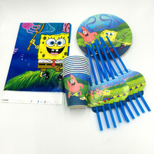 31pcs/lot spongebob plates cups kids birthday party supplies spongebob paper glass plates spongebob party banner napkins(China)