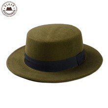 New Wool Retro Felt Pork Pie Hat BREAKING BAD Hat for Men Women Trilby Wool Cap Cheap Black Ribbon Band Bowler fedoras
