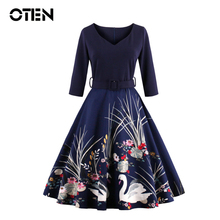 OTEN 4XL Spring Autumn 50s 60s Swan Dress Vestido De Festa Women Casual Printed Swing Dress Formal Vintage Rockabilly Dress 2017