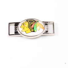 Ice Hockey Chicago Blackhawks NHL Hockey Team Logo Oval Shoelace Charms For Sport Shoes And Paracord Bracelets Decoration 6pcs