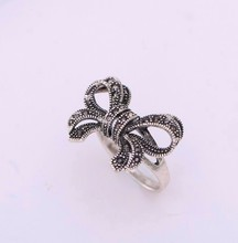 Wholesale retro Fashion charm 925 silve accessories unique Thailand silver bowkiot rings compatible with Original woman jewelry