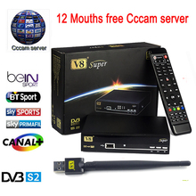 1 Year Europe Cccam Server HD Freesat V8 Super DVB-S2 Satellite Receiver decoder 1080P Italy Spain Arabic Cccam Cline+USB Wifi