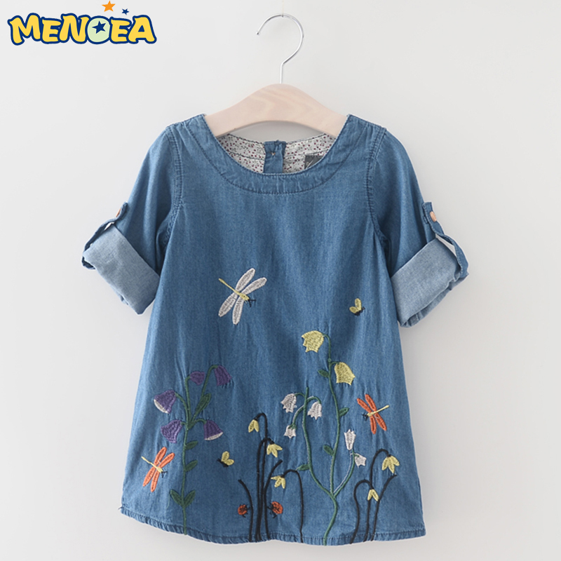 Menoea 2017 Girls Denim Dress Children Clothing Autumn Casual Style Girls Clothes Butterfly Embroidery Dress Kids Clothes<br><br>Aliexpress