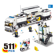 511pcs Kazi 6727 Mini City Police Station Policeman Figures Command Center Police Command Vehicle Building Blocks Toy 3D model