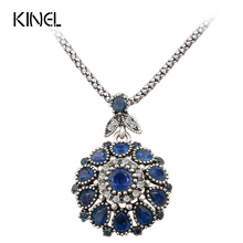 Hot 2016 Gorgeous Bohemia Vintage Jewelry Fashion Resin Silver -Plated Women For Pendant Long Necklace Crystal Gifts(China)