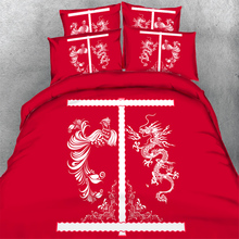 High quality red bedding sets Dragon Phoenix design wedding duvet cover pillow cases kit