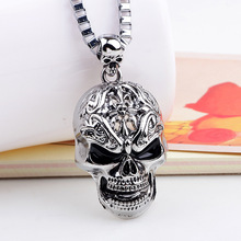 2018 Super Fashion Punk Rock And Roll Wind Personalized Skull Pendant Necklaces Wholesale Make Man Suffocating Big Skull Jewelry(China)