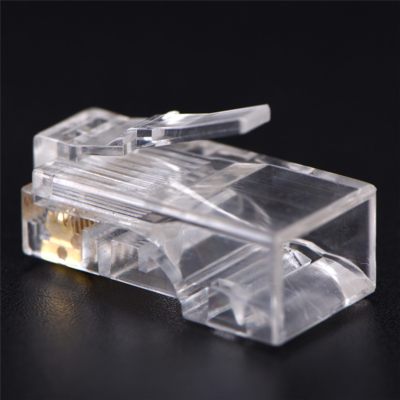 50 PCS RJ45 CAT5 CAT5e CAT6 Plug Adapter Crystal Network Modular Connector Plug 8P8C For Computers