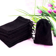 2016 Hot Wedding Party Gift Bag Dark Black Velvet Pouch Gift Bags With Drawstring 9x7cm 10PCs Jewellery Packaging(China)