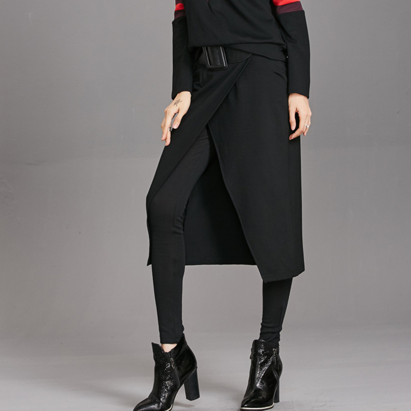 LANMREM 2019 Antumn New Fashion Solid Black Elastic High Waist Ladies Individuality Fake Two Piece Full Length Pants EF335