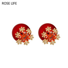 Red snowflake earrings temperament wild creative personality scrub ball ladies stud earrings fashion jewelry(China)
