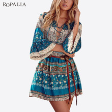 Buy ROPALIA Women Summer Sexy Dress Female Three Quarter V Neck Floral Lace Party Boho Beach Dresses Bohemian Mini Vestidos for $12.17 in AliExpress store