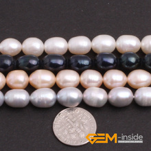 "Pearl: 8-9x9-10mm Egg Shape Cultured Pearl Beads Natural Pearl Beads DIY Loose Beads For Jewelry Making Strand 15"" Wholesale!(China)"