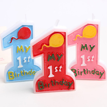 Baby Girl Boy 1st Happy Birthday Cake Candle Number 1 Weddings Party Supplies Decoration Cartoon Cupcake Toppers pink blue red