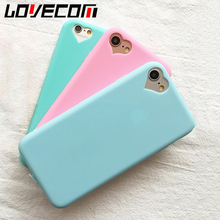 Candy Color Soft TPU Phone Back Cover Case For iPhone 7 For iPhone 5 5S SE 6 6S 7 Plus Mobile Phone Bags & Cases Love Heart Hole(China)