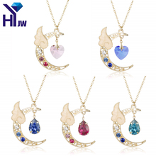 HEYu Japan Sailor Moon Card Captor Kinomoto Cute Moon Star Angel Wing Heart Crystal Chain Kawaii Harajuku Necklace Jewelry(China)