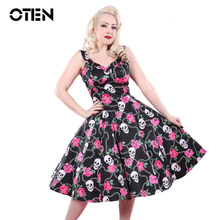 OTEN new products 2017 Women Summer Skull Rose Floral classic 50s 60s sexy spaghetti dresses vestidos rockabilly vintage xxl(China)