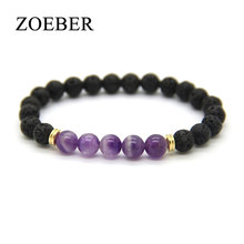 ZOEBER 8mm Black lions Lava Stone Jewelry Natural Purple red crystal Beads Stretch Energy Yoga Bracelets men jewelry